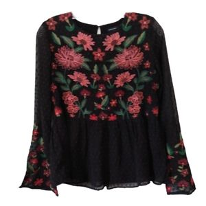 American Eagle Embroidered Black Peplum Top XS